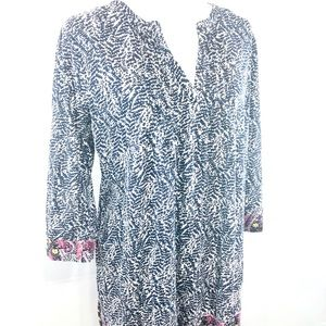 Lucky Brand Top 3/4 Sleeve Boho Peasant Size M